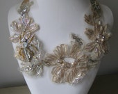 Lace Necklace with Beaded Insect, handmade by Lucy Wayne