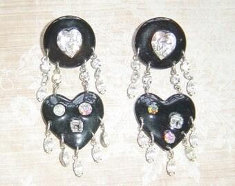 Vintage Black Rhinestone Enamel Statement Earrings
