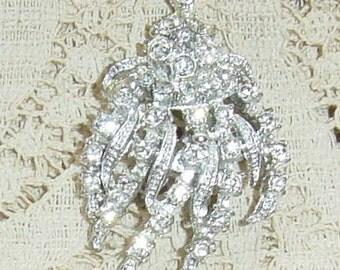 Vintage 1900s Rhinestone Brooch Silver Feather Flower Cascade Wedding Bridal Brooch