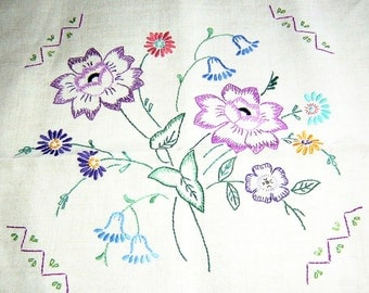 Vintage Linen Pillow Cover 1930s 1940s English Embroidered Flowers Pillowcase