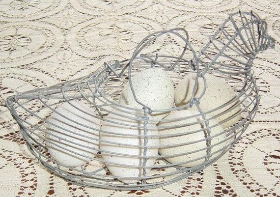 Vintage Wire Chicken Egg Farmhouse Basket