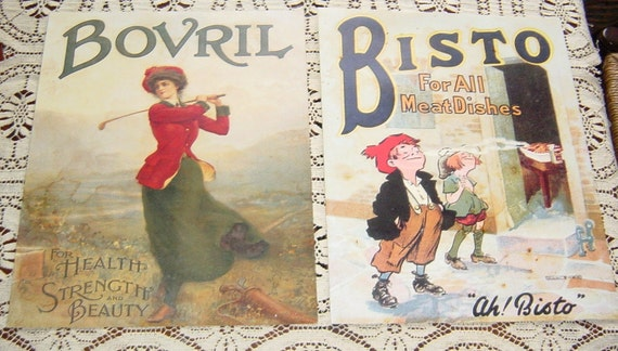 Vintage English Advertising Signs Bovril and Bisto Antique Graphics