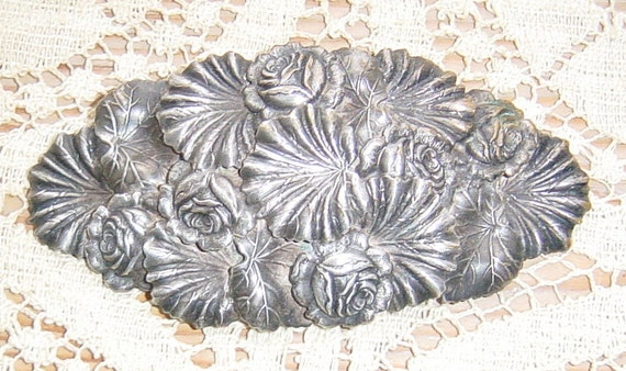 Antique Art Nouveau Brooch with Silver Roses and Leaves
