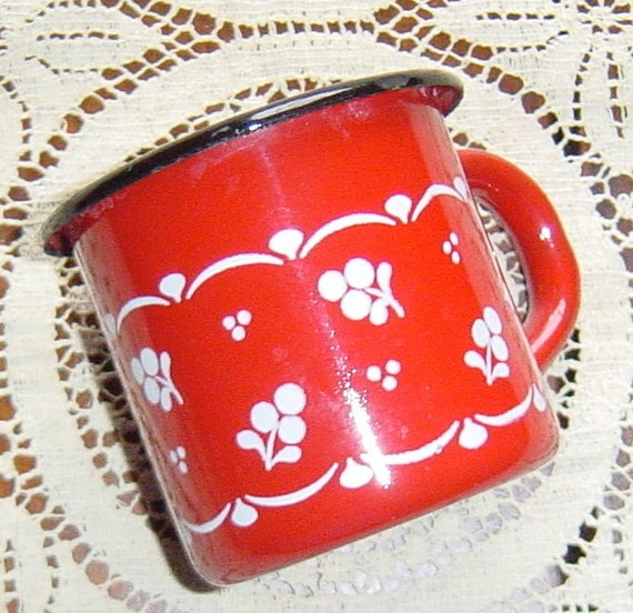 Vintage Red Enamelware Cup Cherries and Flowers Mid Century 1940s 1950s Style