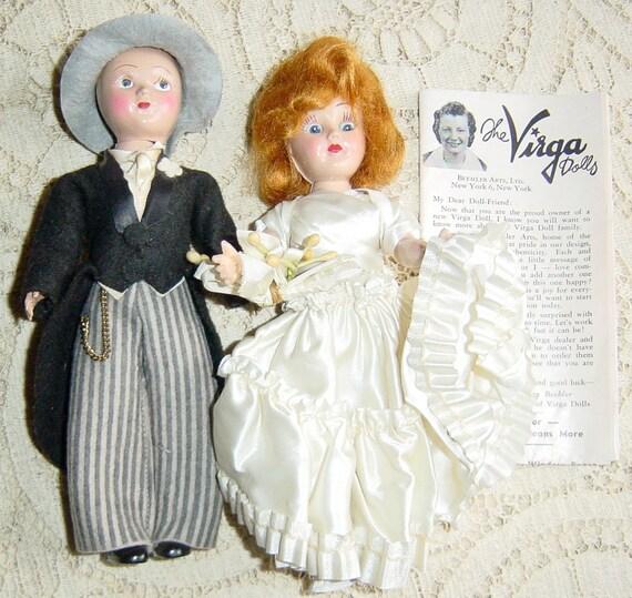 1950s vintage wedding cake topper virga bride and groom dolls. Black Bedroom Furniture Sets. Home Design Ideas