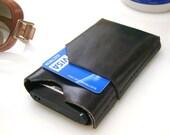 Leather Front Pocket iphone 4 Wallet & Card Holder  - 100 % Handmade - Black