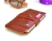 iPhone 4 Wallet-Horizontal Handmade Leather iPhone 2G/3G/4G  Pouch / Wallet / Card Holder - Rustic Brown-UNIQUE