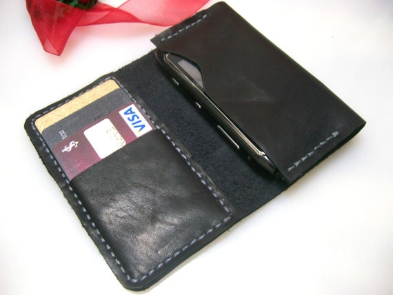 Leather iPhone Wallet 2G/3G/4G Case - Credit Card Wallet - Black