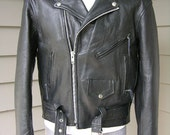 vintage Men's Black leather Motorcycle jacket with 'Harley Davidson' patch on back. Size 40 Regular