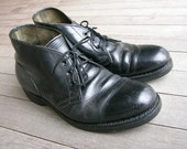 vintage 1950's -1960's Men's Work boots. Black steel toe chukka. 9 R. Safety First Shoe Co.