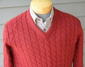 vintage 60's - 70's Men's V neck pullover sweater. Lord Jeff cable knit in Old Brick Red. Medium - Large