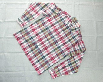 vintage 1960's Men's long sleeve shirt. 'New Old Stock'. EJ Korvette's. Madras style plaid. Small - Medium