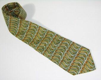 vintage 1980's Aquascutum silk print Men's neck tie. Repeating goose pattern. Retro 40's. Made in USA