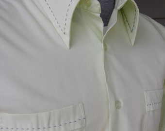vintage 1960's - 70's  Bud Berma Men's short sleeve shirt. Lime Sherbert with Blue/Green tick stitching. Medium