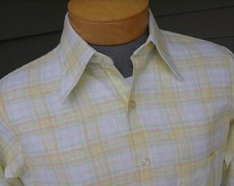vintage 1960's Men's Arrow long sleeve shirt. Easter pastel plaid. Linen like fabric. Medium