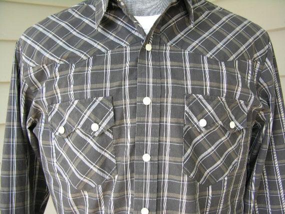 vintage 1980's -Rodeo Rider- Men's western long sleeve shirt. Black grid plaid. Medium