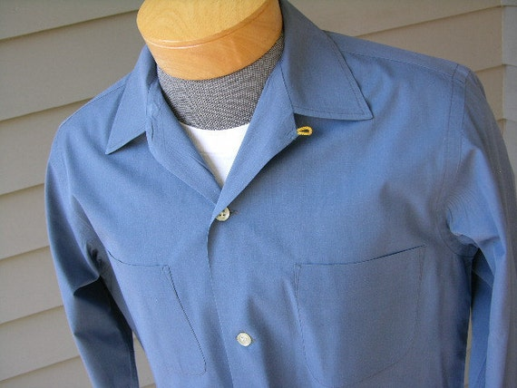 Vintage 1950 39 S Men 39 S Long Sleeve Camp Shirt Slate By