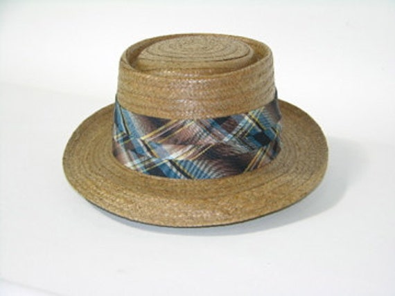 RESERVED for HF123...vintage 1950's Men's 'New Old Stock' ADAM straw porkpie. Cocoanut  hat with madras band. Size 7 1/4.