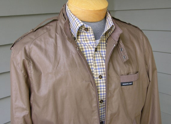 vintage 1980's Members Only jacket for Men. The Original...in Gray Brown. Size 42