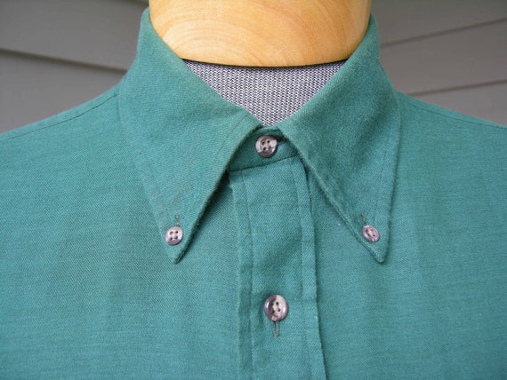 vintage 70's - 80s Brooks Brothers button down collar long sleeve Flannel shirt. Forest Green 'Brooksflannel'. Large