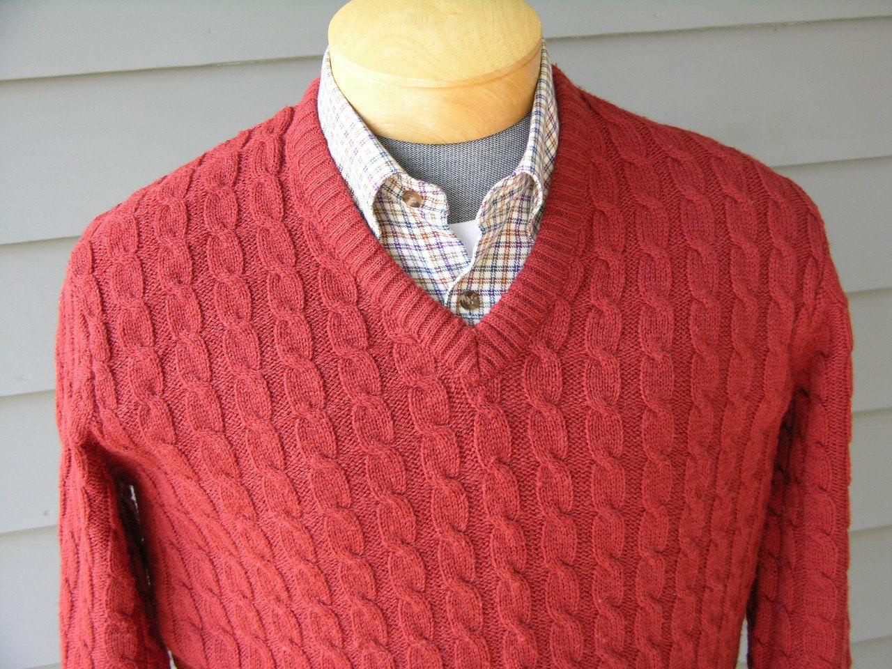 vintage 60's 70's Men's V neck pullover sweater.