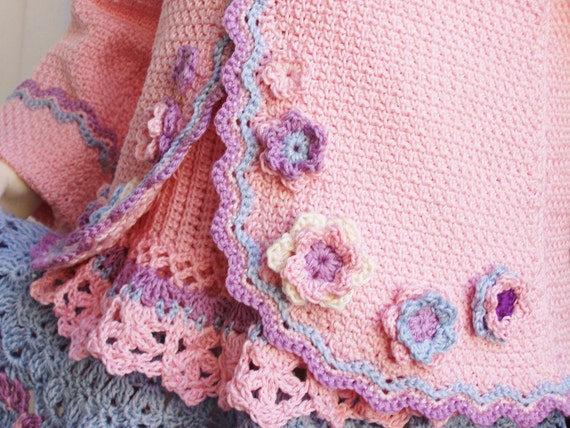 Crochet Flower Cardigan Pattern : Crochet Cardigan Girl Pattern Pink Jacket by PdfPatternDesign