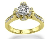 Ice Flower - Engagement Ring With 1.00ct H-I/SI1-2 Diamond