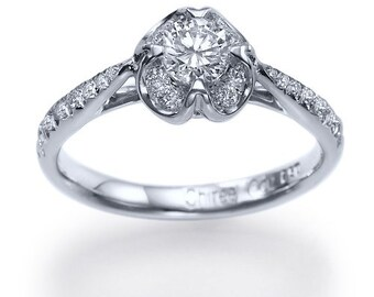 Engagement Ring With 0.50ct D-E/VS1-VS2 100% Natural Diamond