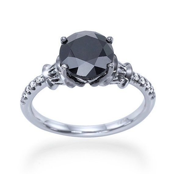 Items similar to Engagement Ring With 2 00 Carat Natural Black Diamond on Etsy