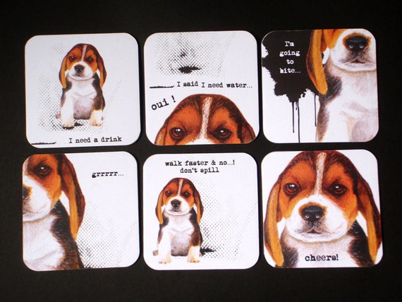 Beagle Puppy Drink Coasters (set of 6)
