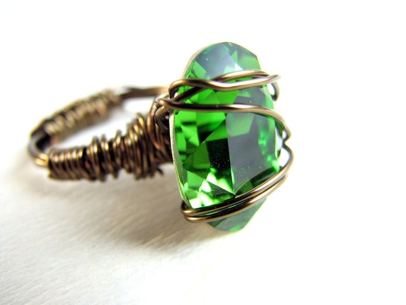 Green Swarovski Crystal Hand Wire-wrapped Ring