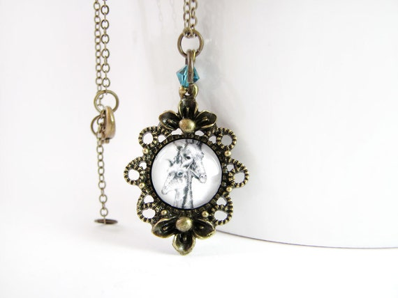 Bonding Giraffes Necklace - Small Antique Frame