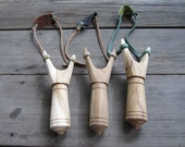 Set of 10 Wooden Slingshots Catapult Hand Made Classic Style // Party Toy // Hunting Outdoor Sport