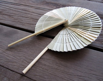 Woven Bamboo Hand Held Folding Fan Natural Color Pain Unique Classic Style Wedding Decor