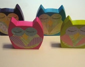 Wooden Owls Sleeping Set of 4 Nursery Decoration Photo Prop Ready to Ship Bright Colors