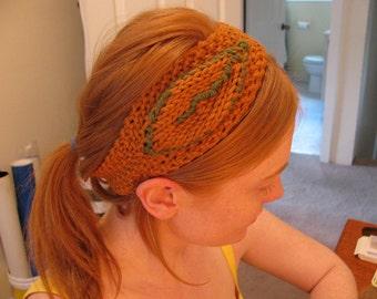 Leafy Knit Cotton Headband with Button Closure
