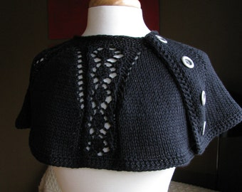 King Charles Lace Cape Cowl--in black cotton with metal buttons