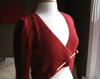 Twin Leaf Lace Cardi--with seed stitch collar pattern PDF