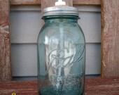 Sale Antique Turquoise Blue Ball mason jar soap dispenser