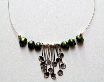 Wedding Jewelry - Green Pearl  Sterling Silver Organic Necklace -  Fine Jewelry - Handmade by Amallias