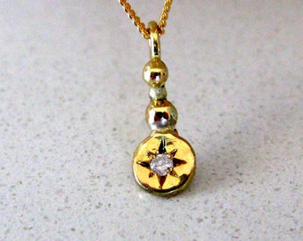 Fine Jewelry. Delicate 14K Gold and 0.02ct Diamond Charm Pendant. Handmade Jewelry. Ready to Ship
