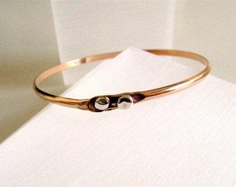 Snake Eyes Gold Filled Bangle Made to Order - Organic Bangle Bracelet - Handmade by Amallias