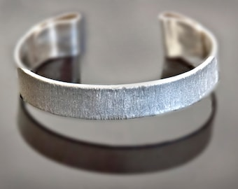 Organic Rustic Sterling Silver and 14k Gold - One of a Kind Unisex Cuff Bracelet - Ready to Ship