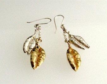 Harvest Wheat Sterling Silver Earrings. Mixed Colors Dangle Earrings