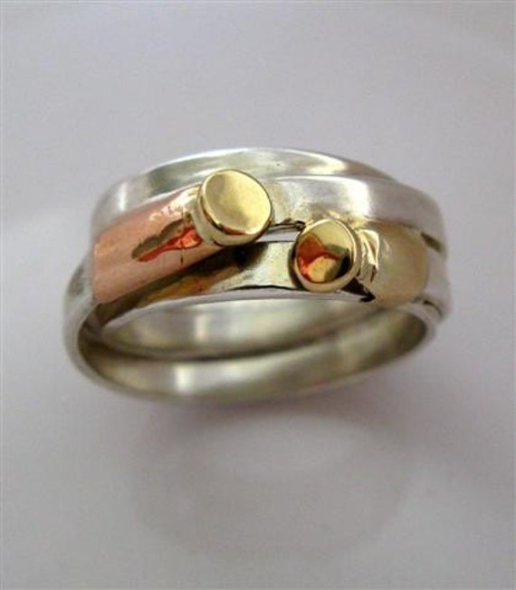 Wedding Jewelry // Unique Silver Looped Stripe Ring with Red and Yellow 14K Gold // Size 8.5 Ready To Ship // Handmade Jewelry  By Amallias