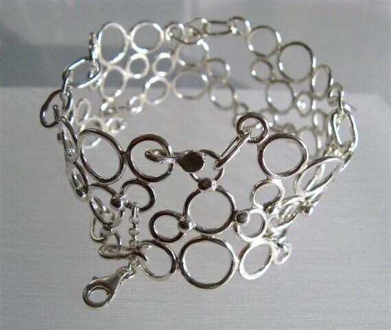 Weddings// Fine Jewrlry // Sterling Silver Bubble Bracelet //  Handmade Jewelry by Amallias