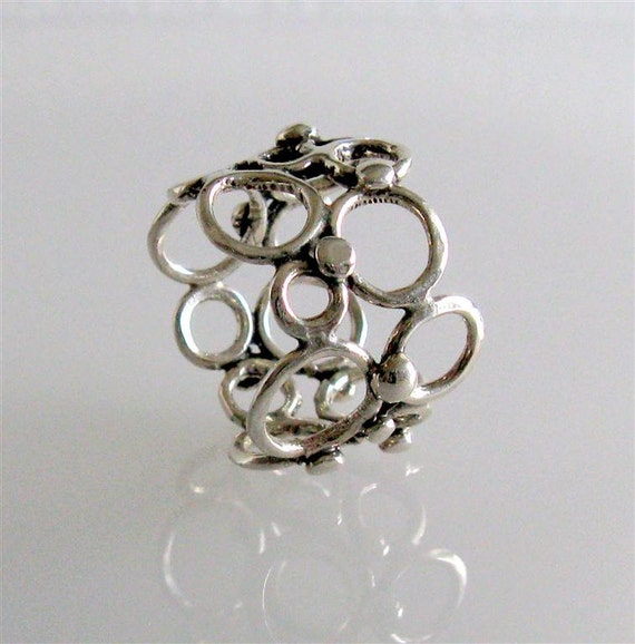 Sterling Silver Bubble Ring // LLac Ring //  Size 7.5 Ready to Ship // Handmade Jewelry By Amallias