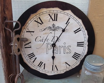 "Vintage, Country, Shabby, Chic, Cafe De Paris French Style Clock, 12"" x 12"""