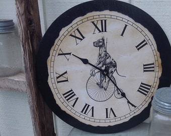 """Vintage   Country   Shabby   Great Dane   Dog   Dog Clock   12"""" x 12"""" clock   Kitchen Clock   Bedroom Clock   Room Clock   Pet Lover Gift  """