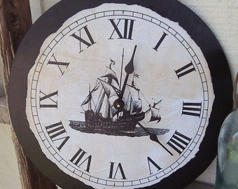 "Vintage Style Nautical Ship Clock, 12"" x 12"""